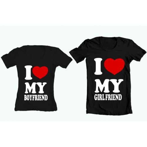 """Парные футболки """"Я люблю свою подругу - Я люблю своего парня"""""""